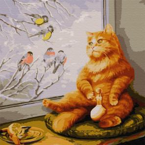 Рыжий кот Раскраска картина по номерам на холсте KH0740