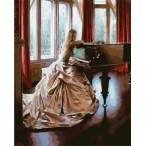 Леди у рояля Раскраска картина по номерам на холсте MCA816