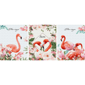 Грация фламинго Триптих Раскраска картина по номерам на холсте PX5279