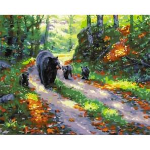 Медвежата с мамой Раскраска картина по номерам на холсте GX25546