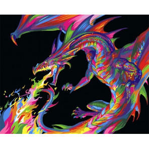 Радужный дракон Раскраска картина по номерам на холсте GX27756