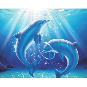 Дельфины в игре Алмазная мозаика на подрамнике LG223
