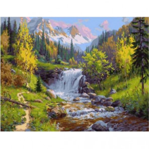 Горный ручей Раскраска картина по номерам на холсте