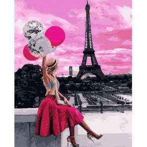 Розовое небо Парижа Раскраска картина по номерам на холсте GX31803