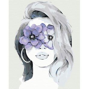 Девушка фиалка Раскраска картина по номерам на холсте AAAA-CG00011-100x125