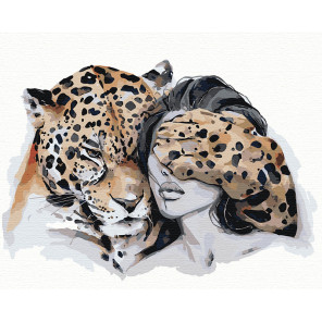Оберег. Леопард Раскраска картина по номерам на холсте AIPA-NP1-100x125