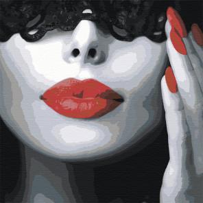 Девушка с красной помадой Раскраска картина по номерам на холсте AAAA-ST1-100x100