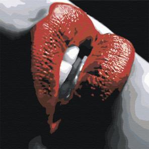 Губы с красной помадой Раскраска картина по номерам на холсте AAAA-ST2-80x80