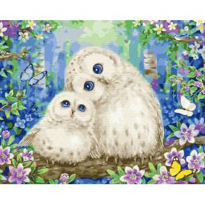 Пернатые мама и дочка Раскраска картина по номерам на холсте ZX 23747