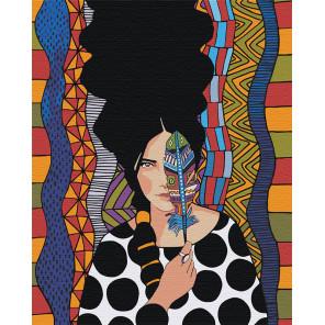 Девушка и пёрышко Раскраска картина по номерам на холсте AAAA-DV01-80x100