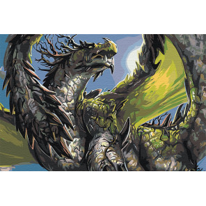 Зеленый дракон Раскраска картина по номерам на холсте AAAA-GDS112-80x120