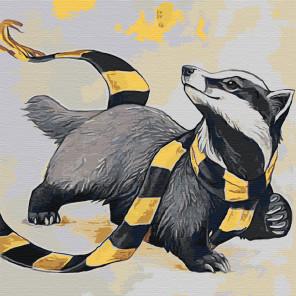 Енот в шарфе Раскраска картина по номерам на холсте AAAA-JV12-100x100