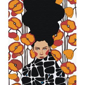 Девушка с оранжево-красными цветами Раскраска картина по номерам на холсте AAAA-DV02-80x100