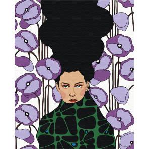 Девушка с сиреневыми цветами Раскраска картина по номерам на холсте AAAA-DV03-80x100