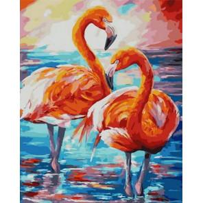 Парочка фламинго Раскраска картина по номерам на холсте PK68098