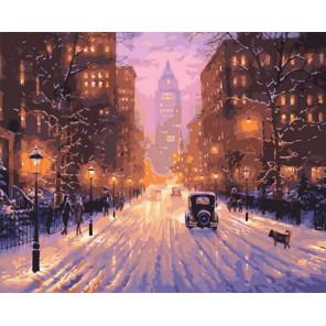 Заснеженная авеню Раскраска картина по номерам на холсте PK68065