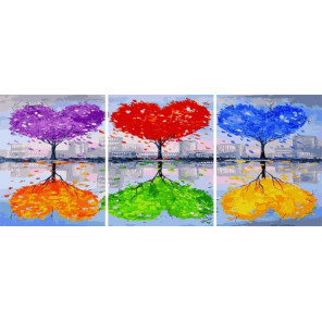 Разноцветные деревья Триптих Раскраска картина по номерам на холсте PX5312