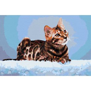 Бенгальская кошка Раскраска картина по номерам на холсте AAAA-RS017-80x120