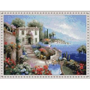 Кафе у моря. Италия Алмазная вышивка мозаика на подрамнике EQ10314