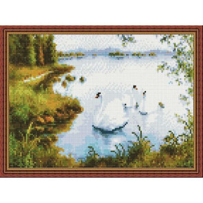 Белые лебеди Алмазная вышивка мозаика на подрамнике EQ10297