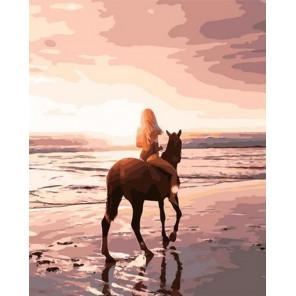 Конная прогулка по пляжу Раскраска картина по номерам на холсте PK72025