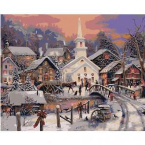 Зимний городок Раскраска картина по номерам на холсте