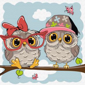 Маленькие совята Раскраска картина по номерам на холсте KH0850