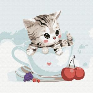 Котёнок в кружке Раскраска картина по номерам на холсте KH0831