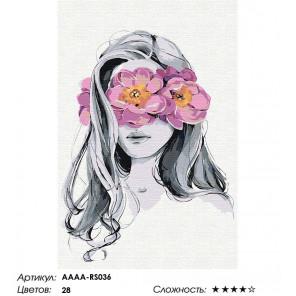 Сложность и количество цветов Девушка с розовым цветочным венком Раскраска картина по номерам на холсте AAAA-RS036-100x150