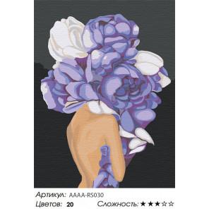 Сложность и количество цветов Девушка с цветком на голове. Сиреневые пионы Раскраска картина по номерам на холсте AAAA-RS030-60