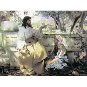 Христос и Самарянка Алмазная мозаика на подрамнике LMC023