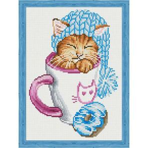 Спящий котёнок с пончиком Алмазная мозаика на подрамнике QS201013