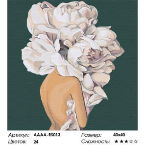 Сложность и количество цветов Девушка с цветком на голове на зеленом фоне Раскраска картина по номерам на холсте AAAA-RS013