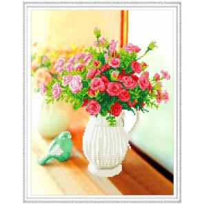 Цветы в кувшине Алмазная мозаика вышивка на подрамнике Molly KM0613