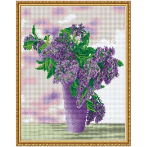 Сиреневый букет Алмазная мозаика вышивка на подрамнике Molly KM0614