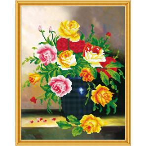 Букет в синей вазе Алмазная мозаика вышивка на подрамнике Molly KM0616