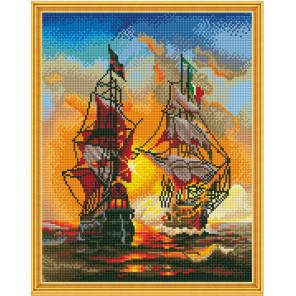 Морской бой Алмазная мозаика вышивка на подрамнике Molly KM0622