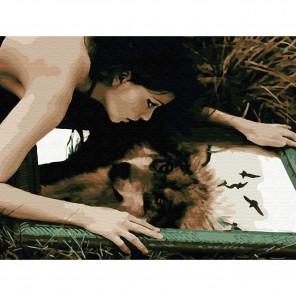 Волчица Картина по номерам с цветной схемой на холсте KK0629