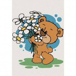 Медвежонок с ромашками Раскраска по номерам на холсте KHM0021