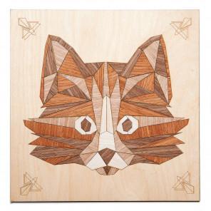 Мудрый кот Набор для создания картины на дереве ( апликация из натурального шпона) KD0202