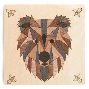 Бурый медведь Набор для создания картины на дереве ( апликация из натурального шпона) KD0207