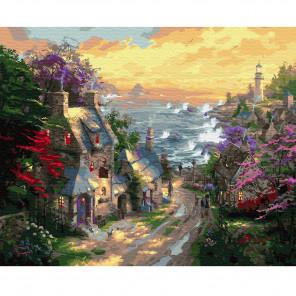 Деревня у берега моря Раскраска по номерам на холсте KH0650
