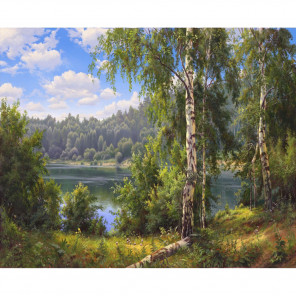 Лесное озеро Раскраска по номерам на холсте KH0645