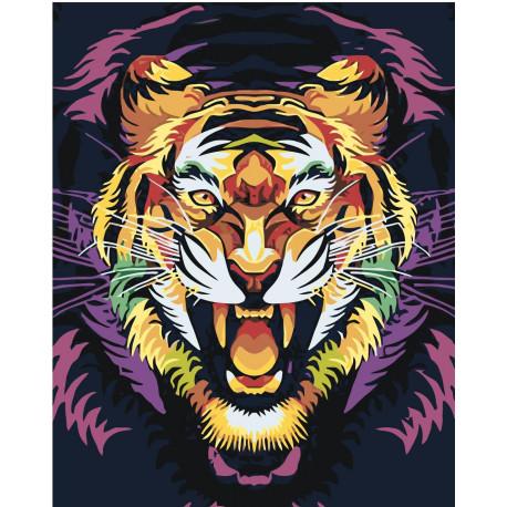 Тигр поп арт Раскраска картина по номерам на холсте PA213 ...