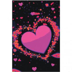 Сердце яркими неоновыми красками 100х150 Раскраска картина по номерам на холсте