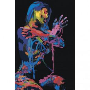 Красочная девушка в темноте 100х150 Раскраска картина по номерам на холсте