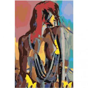 Радужная обнаженная девушка 80х120 Раскраска картина по номерам на холсте