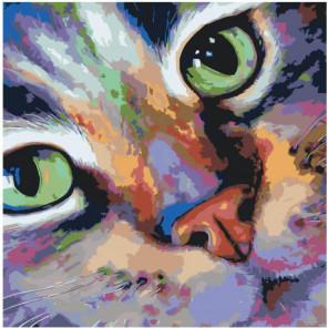 Разноцветный кот 80х80 Раскраска картина по номерам на холсте