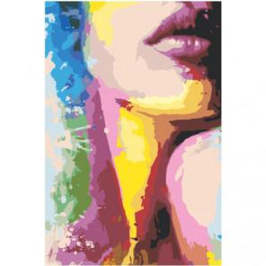Радужная девушка незнакомка 100х150 Раскраска картина по номерам на холсте