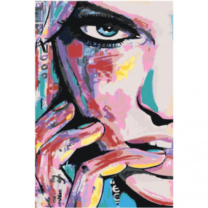Загадочное лицо девушки 100х150 Раскраска картина по номерам на холсте